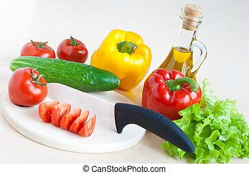 naturaleza muerta, con, cuchillo, y, vegetales