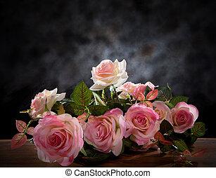 naturaleza muerta, de, rosa, ramo, flor