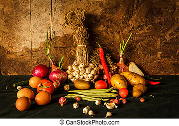 naturaleza muerta, fotografía, con, especias, hierbas, vegetales, y, fruits