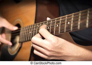 naturaleza muerta, hombre tocar guitarra