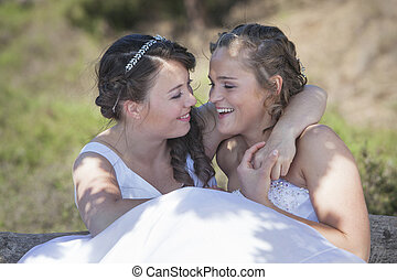 naturaleza, novias, dos, alrededores, abrazo, sonrisa