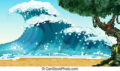 naturaleza, océano, vacío, costero, playa, paisaje