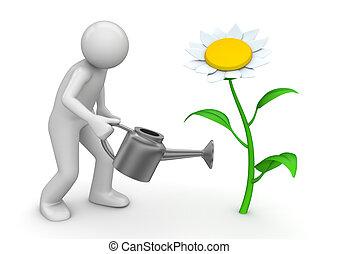 naturaleza, regar, -, colección, lata, jardinero