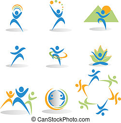 naturaleza, salud, yoga, iconos