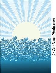 naturaleza, sol, ilustración, day., vector, mar, ondas, paisaje