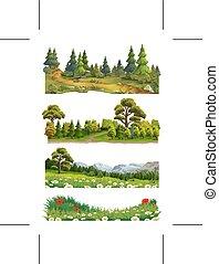 naturaleza, vector, paisaje, conjunto