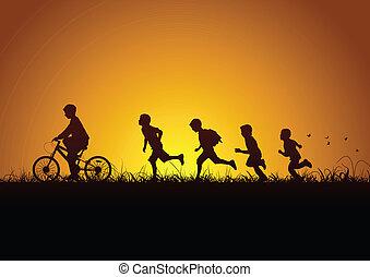 naturaleza, y, niños