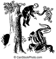 Naturalist at work - Naturalist sitting on the tree and...