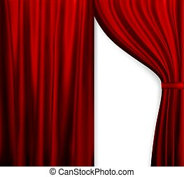 Naturalistic image of Curtain, open curtains red color. Vector Illustration.