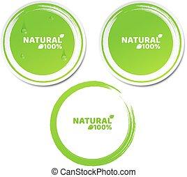 naturally, conjunto, grunge, percent., product., water., ilustración, ecológico, vector, verde, label., fluir, natural, 100, gotas, pegatinas, style., 3d