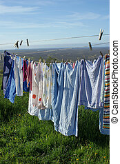 Naturally dry - Washing hung out to dry naturally