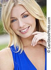 naturally, vacker, blond, kvinna, med, blått synar