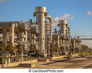 naturalny gaz, poddawanie procesowi, umiejscawiać