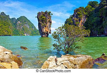 nature., île tropicale, vue, james, lien, paysage, thaïlande