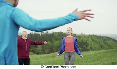 nature., übung, anfall, aktive, groß, leute, gruppe
