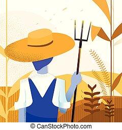 nature., -, イラスト, farm., ベクトル, 背景, farmer., 農業, トウモロコシ, 風景, art.
