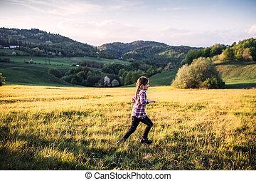 nature., 小さい, 外, 楽しみ, 女の子, 持つこと