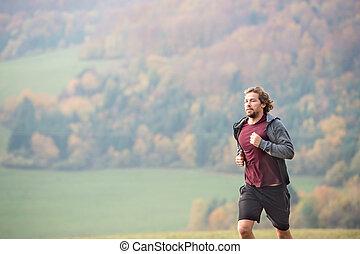 nature., 日当たりが良い, 若い, 秋, 動くこと, 人, ハンサム