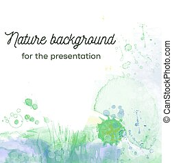 Nature abstract background with plants and herbs for the card and presentation. Vector illustration