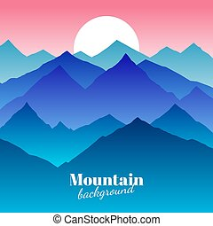 Nature abstract mountain landscape and sunset vector background