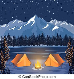 Nature adventure poster. Vector night landscape with outdoor forest camp tents, moonlight and mountains
