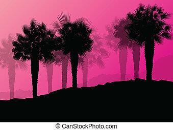 nature, affiche, arbre, illustration, silhouettes, vecteur, paume, fond, sauvage, paysage