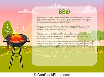 nature, affiche, illustration, vecteur, texte, barbecue