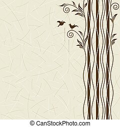 Nature And Dating - Abstract tree with birds dating, vector...