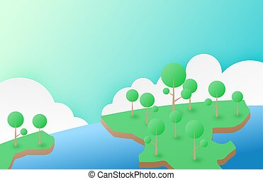 Nature and environment conservation concept background in minimalism style. A tree growing on earth with the sea and sky background. Vector illustration. digital craft paper art. poster, banner.