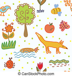 Nature and environmnent seamless pattern for kids