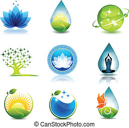 Nature and health care symbols Beautiful concepts on nature and health theme Can be used as company symbols or other purposes Bright and eye catching design