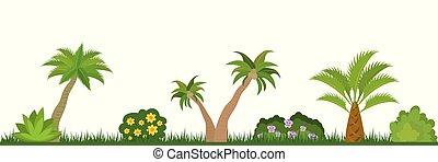 nature, arbres, landscape-, paume, exotique, buissons