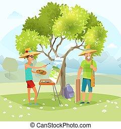 Nature Artist Painting Landscape Vector Illustration -...