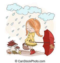 nature, automne, ensemble, saison, automne, girl, illustration, parapluie, vecteur