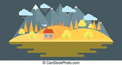 Nature autumn landscape. Vector illustration in flat design style.