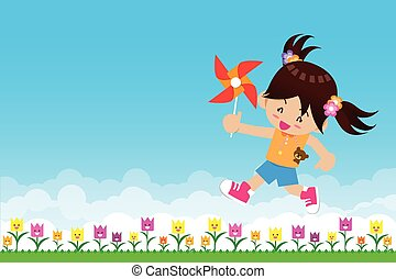 Nature backgro Girl and paper wind turbine. Nature background with green grass and flowers and blue skyund with green grass and flowers and blue sky