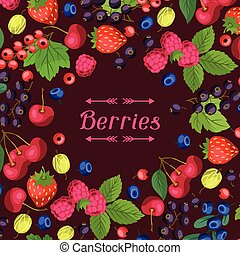 Nature background design with berries. - Nature background...