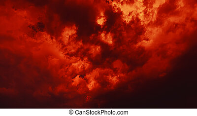 Dramatic clouds on the sky - Nature background. Dramatic ...
