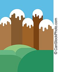 Nature background. Mountains and meadows. Vector illustration