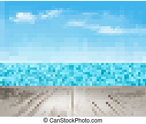 Nature background with a wooden deck, the sea and the sky. Vector.