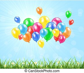 Nature background with balloons