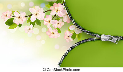 Nature background with blossoming tree brunch and spring flowers and zipper. Vector illustration.