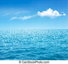 Nature Background With Blue Sea And Blue Sky With Clouds....