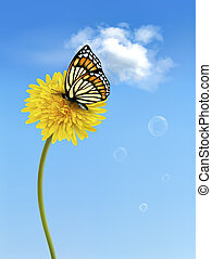 Nature background with butterfly on a yellow dandelion. Vector.