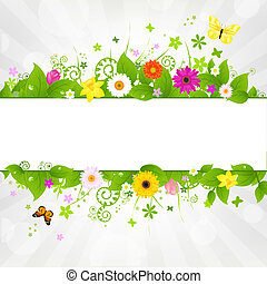 Nature Background With Flower And Butterflies, Vector...