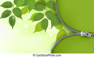 Nature background with fresh green leaves and zipper  Vector illustration