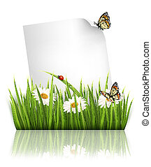 Nature background with grass and a paper. Vector.
