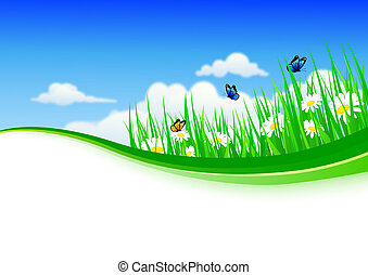 nature background with grass and fl - vector illustration of...