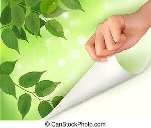 Nature background with green fresh leaves and hand. Vector illustration.