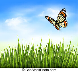 Nature background with green grass and butterfly and blue sky. Vector
